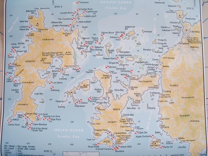 carte plongées Komodo
