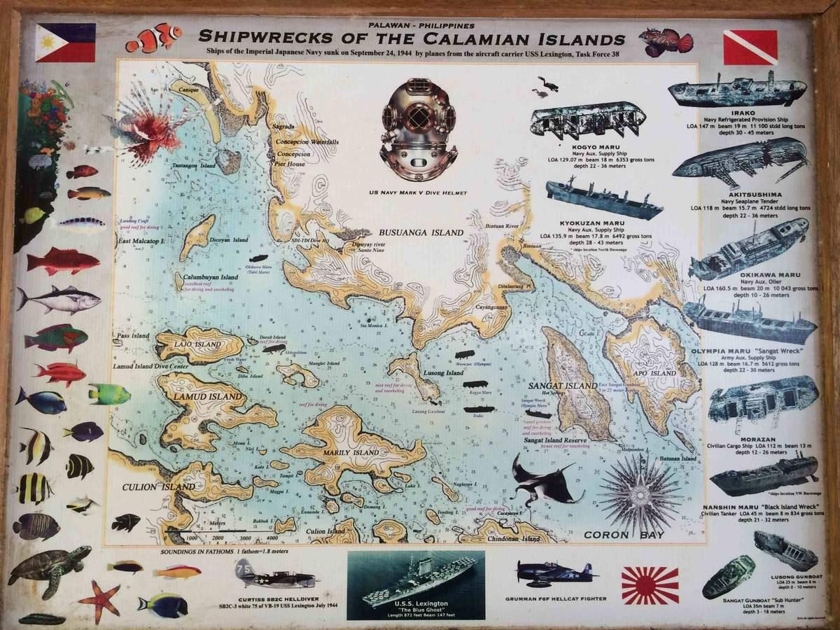 La carte des épaves de Busuanga aux Philippines.