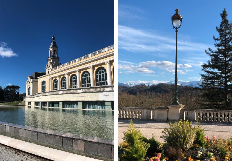 À gauche, le Palais Beaumont, centre de congrès de Pau. À droite, le panorama depuis le boulevard des Pyrénées.